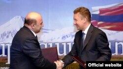Ռուսաստանի «Գազպրոմ» ընկերության վարչության նախագահ Ալեքսեյ Միլլերի և Հայաստանի էներգետիկայի և բնական պաշարների նախարար Արմեն Մովսիսյանի միջև հանդիպումը «Գազպրոմ»-ի գլխավոր գրասենյակում, 16 հունվարի 2014թ.