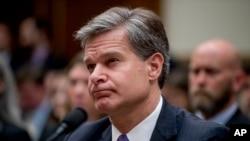 美國聯邦調查局長克里斯托弗·雷在國會作證。(2018年6月28日)