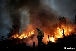 FILE - A Brazilian Institute for the Environment and Renewable Natural Resources (IBAMA) fire brigade member attempts to control a fire in a tract of the Amazon jungle in Apui, Amazonas State, Brazil, August 11, 2020. (REUTERS/Ueslei Marcelino)