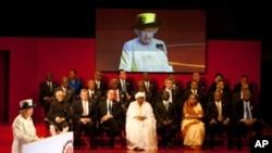 英國女王伊麗莎白二世在英聯邦政府首腦會議發表講話