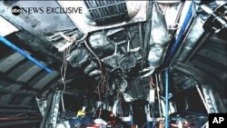 Handout released by ABC News 27 July, 2005 shows the mangled interior of the train that was bombed near King's Cross station, London, killing 27 people 07 July 2005