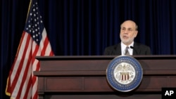 Šef Federalnih rezervi Ben Bernanki govori na konferenciji za novinare u Vašingtonu