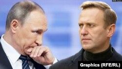 Олексій Навальний (праворуч) став найгучнішим критиком президента Володимира Путіна (ліворуч)