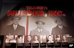 An exhibit featuring a target of the G men, Murder, Inc. is pictured at The Mob Museum on Monday, Feb. 13, 2012, in Las Vegas.