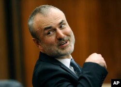 FILE - Gawker Media founder Nick Denton attends Hulk Hogan's trial against Gawker, in St. Petersburg, Fla., March 9, 2016.