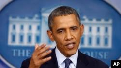 Tổng thống Obama nói về việc chính phủ đóng cửa và mức trần vay nợ tại Phòng Báo chí Tòa Bạch Ốc 8/10/13