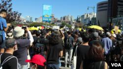 纽约的香港人周日集会声援香港抗议者