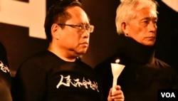 香港支聯會主席何俊仁(左)。(美國之音湯惠芸攝)