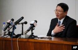 지난 2014년 2월 북한에 억류 중인 한국인 개신교 선교사 김정욱 씨가 평양에서 기자회견을 가졌다.