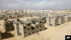 Unfinished buildings at the UNRWA housing project in Khan Younis, southern Gaza Strip, March 9, 2011