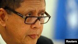 Penyidik Khusus HAM PBB untuk Korut, Marzuki Darusman membawakan laporannya di depan Dewan HAM PBB, di Jenewa (11/3).