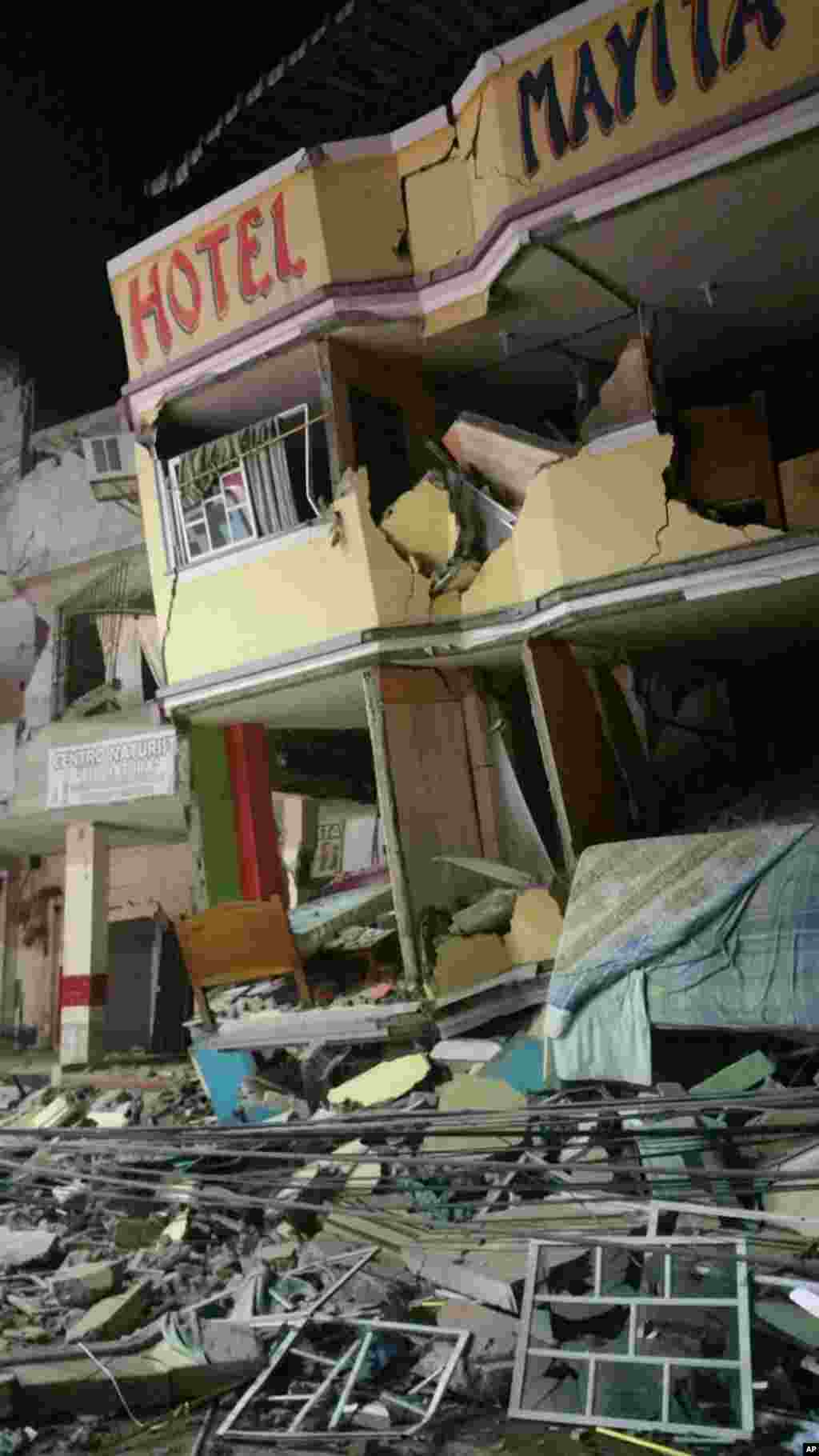 An hotel barely stands after an earthquake in the town of Manta, Ecuador, April 16, 2016.