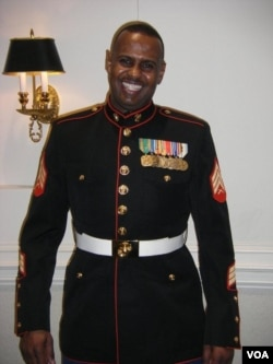 Somalia-born Abdullahi Mohamud joined the Marine Corps before he became a U.S. citizen. He's shown in 2008.