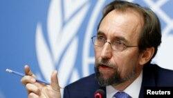 Kepala HAM PBB Zeid Ra'ad al-Hussein memberikan pernyataan kepada media di Jenewa, Swiss (foto: dok).