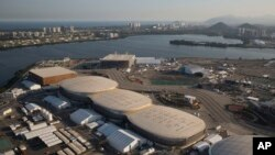 File - The Olympic Park of the 2016 Olympics is seen from the air, in Rio de Janeiro, Brazil, July 4, 2016. The International Olympic Committee said on Sunday, July 9 2017, that it has declined to step in and help Rio Olympic organizers with a debt estima