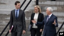White House senior adviser Jared Kushner, Homeland Security Secretary Kirstjen Nielsen and Vice President Mike Pence talk upon leaving the Eisenhower Executive Office Building, Jan. 5, 2019, in Washington. Pence had led federal shutdown talks with congressional leaders.
