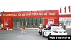 Cổng vào Trung tâm Hội nghị Quốc gia, nơi diễn ra Đại hội Đảng XIII từ ngày 25/1 đến 1/2/2021. Photo Tien phong.