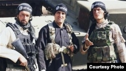 "The crew of ""Paytakht-5"" comedy show is seen in Islamic State uniforms."