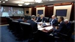اوباما در گفت و شنود با نوری المالکی نخست وزیر عراق در کاخ سفید