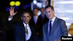 باراک اوباما در ورود به مادرید از سوی پادشاه اسپانیا مورد استقبال قرار گرفت.