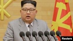 Shugaban Koriya ta Arewa, Kim Jong Un yayin da yake jawabin sabuwar shekara