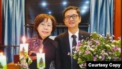 Mục sư Võ Xuân Loan và ông Phương Văn Tân trong một buổi sinh hoạt trực tuyến của Hội truyền giáo Phục Hưng. Photo do MS Võ Xuân Loan cung cấp cho VOA.