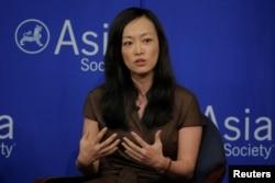 수미 테리 전 백악관 국가안보회의 한국담당 보좌관이 19일 뉴욕 아시아소사이어티에서 열린 '한반도 위기-미한동맹의 의미' 세미나에서 참석해 발언하고 있다.