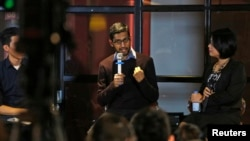 Google CEO Sundar Pichai gestures as he addresses conference with local IT community, Hanoi, Vietnam, Dec. 22, 2015.