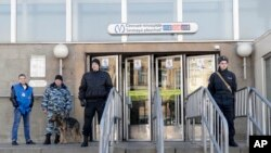 Security is still tightened at Sennaya subway station in St. Petersburg, Russia, April 5, 2017.