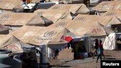 2013年8月26日叙利亚难民在伊拉克库尔德斯坦地区埃尔比勒市郊外一个新建难民营