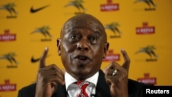 South African businessman and former political prisoner Tokyo Sexwale speaks during a media briefing at SAFA house in Johannesburg, October 27, 2015.