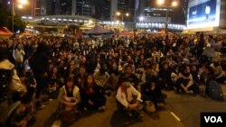 Protesters in the Admiralty area of central Hong Kong December 9, 2014.