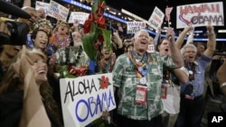 Hawaii delegates as President Barack Obama is nominated for the Office of the President of the United States at the Democratic National Convention in Charlotte, N.C., September 5, 2012.