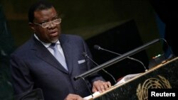 FILE - President Hage Geingob of Namibia speaks at the U.N. Headquarters in New York, Sept. 29, 2015.