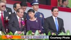 立法院长王金平、第一夫人周美青、马英九总统(中华民国国庆筹备委员会组织提供)