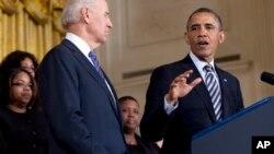 28일 백악관에서 총기규제 지지를 촉구하는 바락 오바마 미국 대통령..