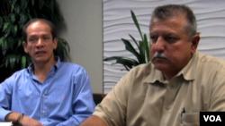 路易斯.托瑞斯(左)和威利.弗南德茲是今年美國總統大選的拉丁美洲裔選民