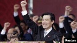 10月10日中華民國國慶日馬英九發表講話後高呼口號(資料照片)