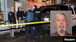 La policía cercó toda el área donde se produjeron los tiroteos. En esta imagen el sospechoso Kurt Myers aparece al lado derecho.