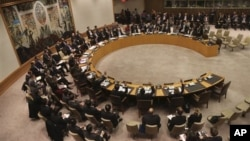 Dewan Keamanan PBB mengadakan pemungutan suara untuk mengecam peluncuran roket Korea Utara di kantor pusat PBB, 22 Jauari 2013. (AP Photo/Mary Altaffer)