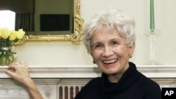 Alice Munro poses for a photograph at the Canadian Consulate's residence in New York.