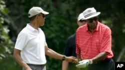 Antigo Presidente Barack Obama e Vernon Jordan, 15 Agosto 2015