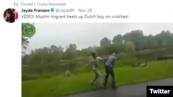A screenshot shows a frame of one of the anti-Muslim videos retweeted by President Donald Trump, Nov. 29, 2017.
