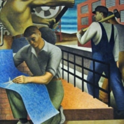Detail from a Ben Shahn mural from the Depression era