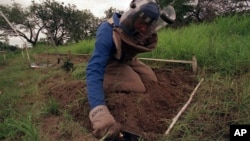 FILE - In this Dec. 3, 2001 file photo, former rebel soldier Abdul Momed Gofulof, clears land mines in Hnadane, 62 miles south of Maputo, Mozambique.