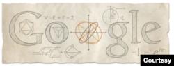 """Hình """"Google doodle"""" trên đầu trang mạng Google ngày 15 tháng 4, 2013, kỷ niệm 306 năm ngày sinh Euler. Bài toán 7 cây cầu nằm phía dưới chữ O. (Hình: Google.com)"""