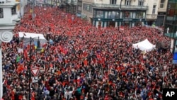 Marking 25th anniversary of the anti-communist Velvet Revolution, thousands gather to call on controversy-prone Czech President Milos Zeman to resign, Prague, Czech Republic, Nov. 17, 2014.