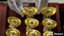 圖為北京一家珠寶行的黃金製品 。(2019年8月6日)