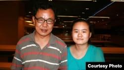 張林和他的女兒安妮在2013年的合影。 (胡佳提供)