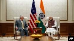 美國國務卿蒂勒森在新德里訪問期間,會晤了印度莫迪總理